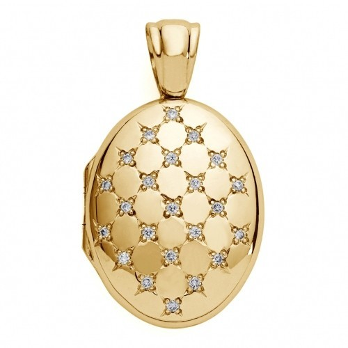 18k Yellow Gold Diamond Oval Locket - Madison