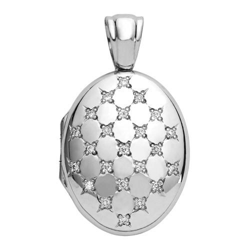 18k White Gold Diamond Oval Locket - Hannah