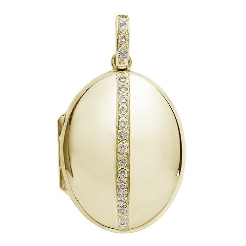 18k Yellow Gold Diamond Oval Locket - Tiffany
