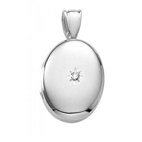 Sterling Silver Diamond Oval Locket - Mary Beth