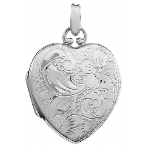 Sterling Silver Hand Engraved Floral Locket