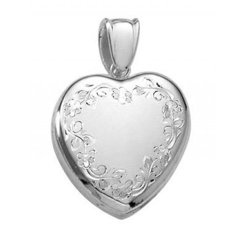 14k White Gold Premium Floral Heart Locket - Brooke