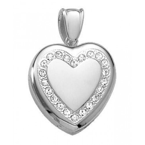 18k White Gold Diamond Heart Locket - Sophia