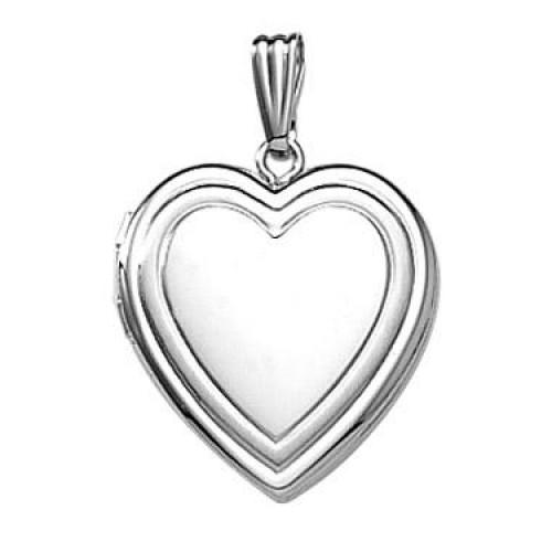 14k White Gold Bezel Heart Locket