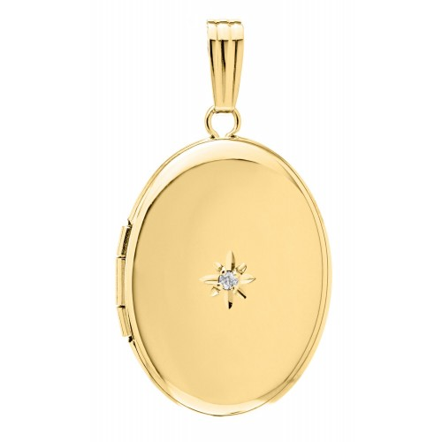 14k Yellow Gold Oval Locket w/ Diamond - Irene