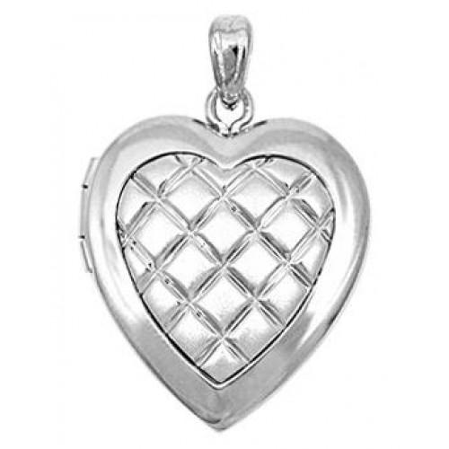 14k White Gold Hand Engraved Heart Locket