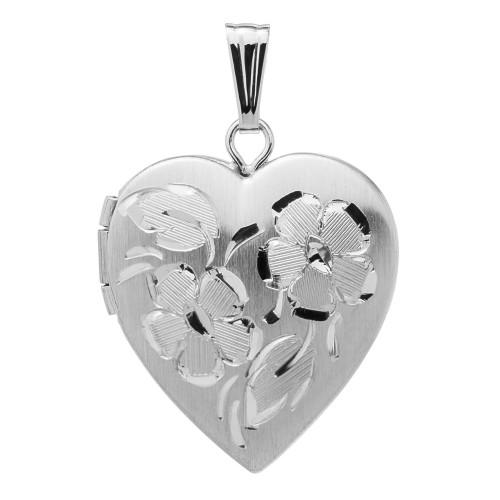 14k White Gold Floral Heart Locket