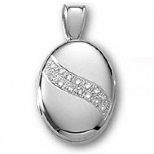 14k White Gold and Diamond Oval Locket - Yvonne