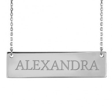 "Personalized Name Bar Necklace w/ 18"" Chain"