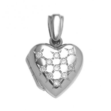 Childrens 18k Gold Diamond Heart Locket