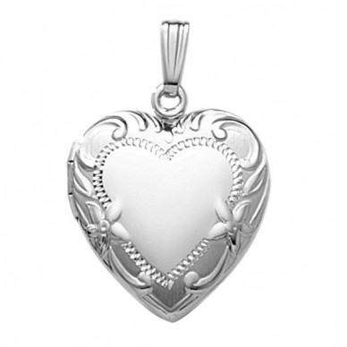 14k White Gold Floral Heart Locket - Juliet