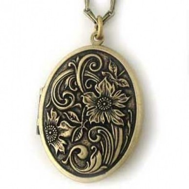 Brass Antiqued Oval Locket - Flora