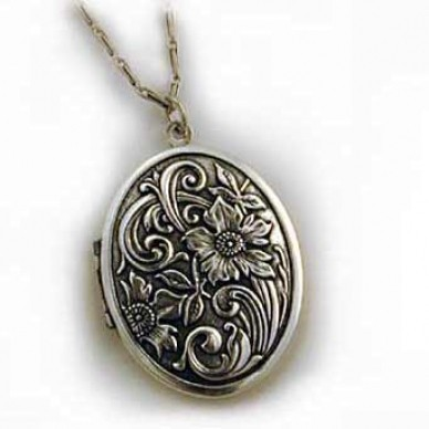 Silver Tone Large Antique Oval Locket - Flora