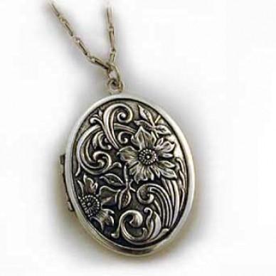 Silver Tone Large Antique Oval Locket - Flora