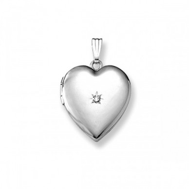 "Louise 3/4"" White Gold & Diamond Locket"