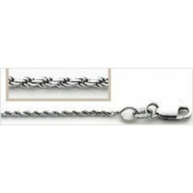 Men's White Gold Diamond Cut Rope Chain