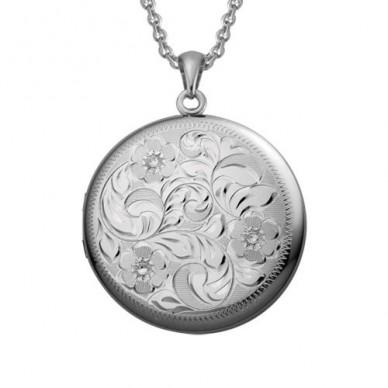 Sterling Silver Large Floral Round Locket - Carmen