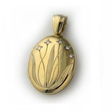 18K Yellow Gold Diamond Floral Locket
