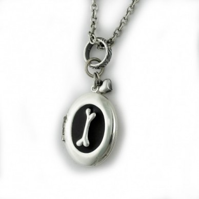 Silver Plated Oval Dog Bone Locket