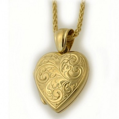18k Hand Engraved Floral Locket - Tara