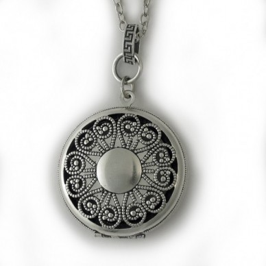 Silver Antique Vignette Locket - Willow