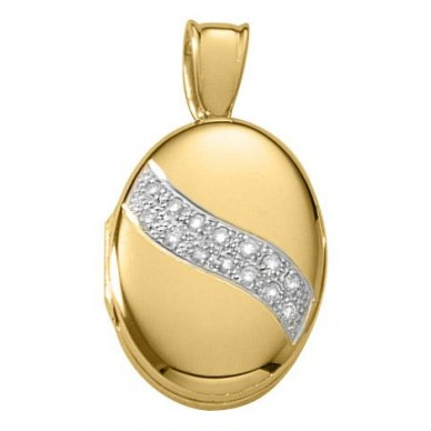 18k Yellow Gold Diamond Oval Locket - Yvonne
