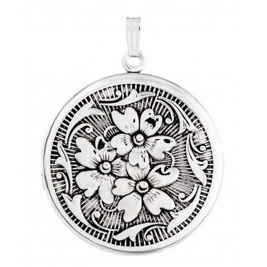 Sterling SIlver Floral Round Locket - Carmen
