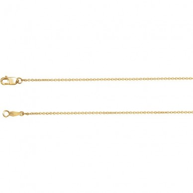 18K Yellow Gold 1mm Thick Solid Cable Chain