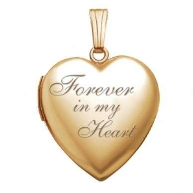 "14k Gold Filled ""Forever In My Heart"" Heart Photo Locket"