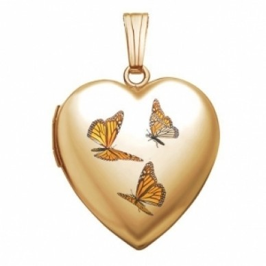 14K Gold Monarch Butterfly Heart Photo Locket