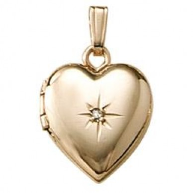 14k Childrens Diamond Heart Locket - Sarah