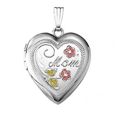 "Sterling Silver Enameled ""Mom"" Heart Locket"