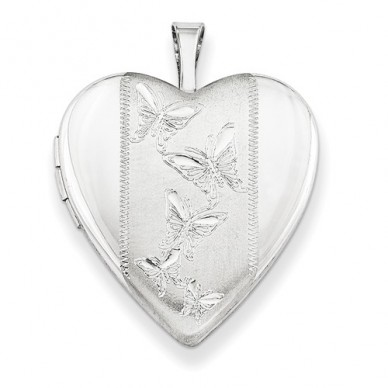 Sterling Silver Butterfly Heart Photo Locket