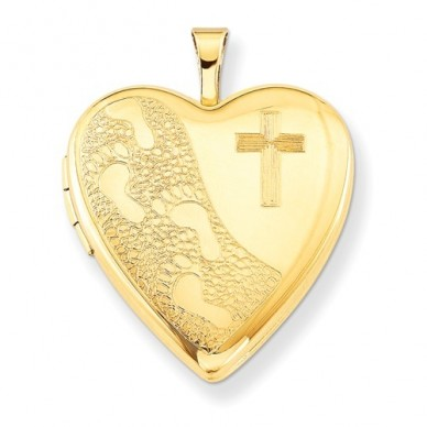 14k Gold Filled Cross And Footprints Heart Photo Locket