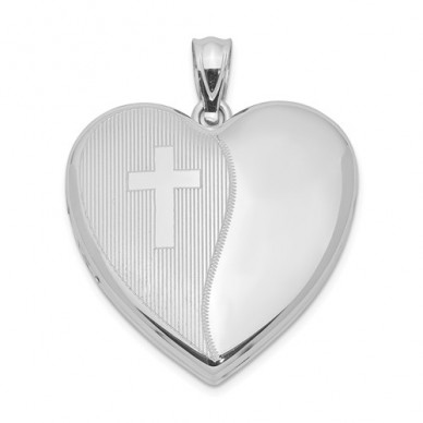 Sterling Silver Religious Heart Photo Locket