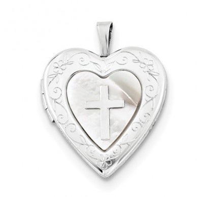 Sterling Silver Heart Locket with Mother of Pearl & Cross