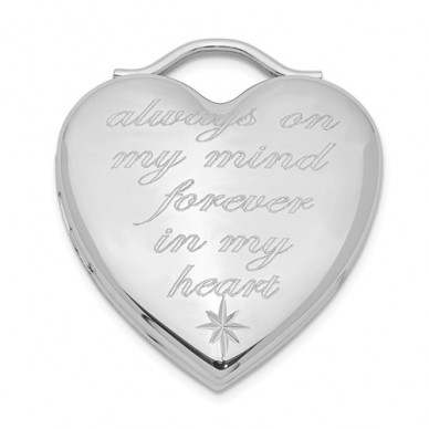 "Sterling Silver ""Always On My Mind Forever In My Heart"" Heart Photo Locket"