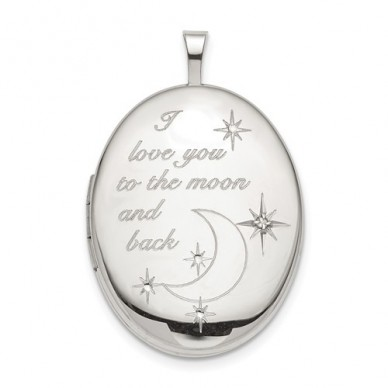 "Sterling Silver ""To the moon and back"" Diamond Oval Photo Locket"
