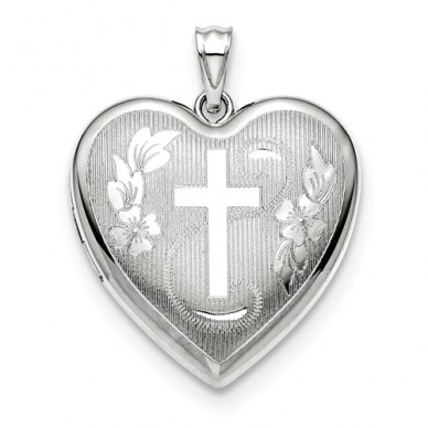 Sterling Silver Floral Religious Heart Photo Locket