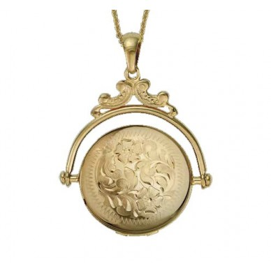14k Yellow Gold Revolving Round Locket - Elizabeth