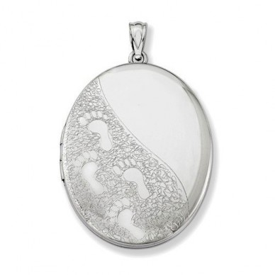 Sterling Silver Oval Footprint Locket