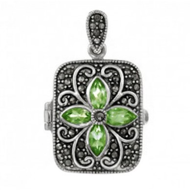 Sterling Silver Peridot Locket - Kayla