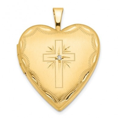 14K Gold Cross With Diamond Heart Photo Locket