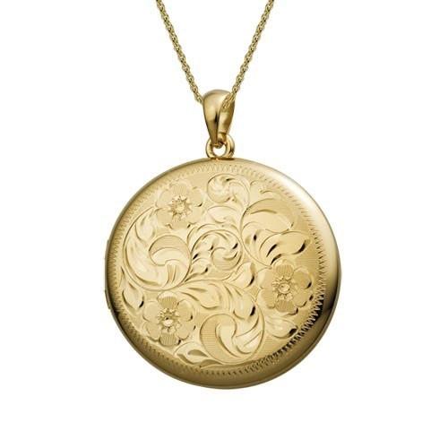 Gold Filled Engraved Rectangle Locket RP Monogram Locket Antique Floral Monogrammed Locket