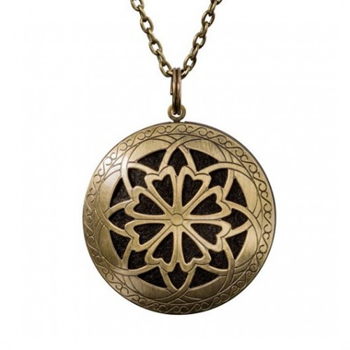Brass Antique Round Locket with Pierced Frontside