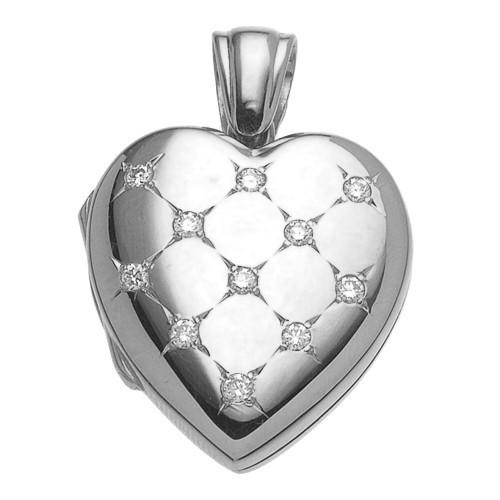 18k White Gold Diamond Heart Locket - Morgan