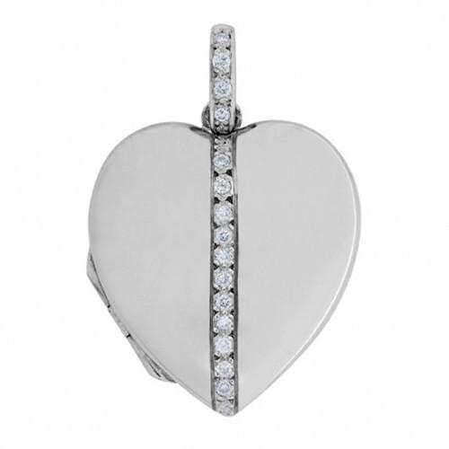 18k White Gold Diamond Heart Locket - Addison