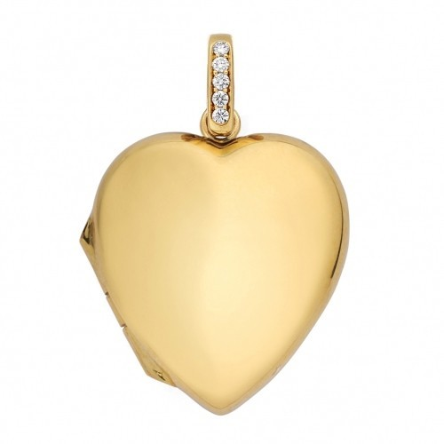 18k Yellow Gold Heart Locket w/ Diamond Accent