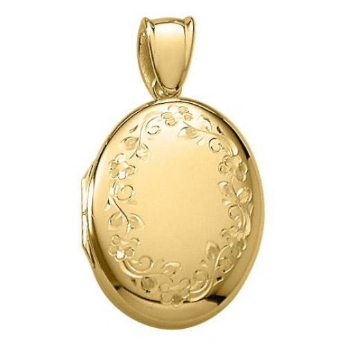 18K Yellow/White Gold Floral Oval Locket - Julia