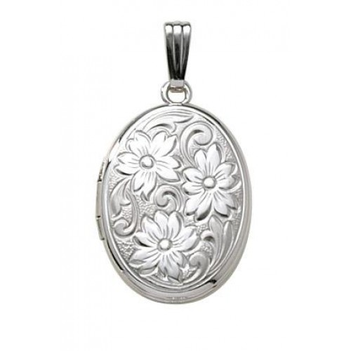 Sterling Silver Oval Embossed Floral Locket